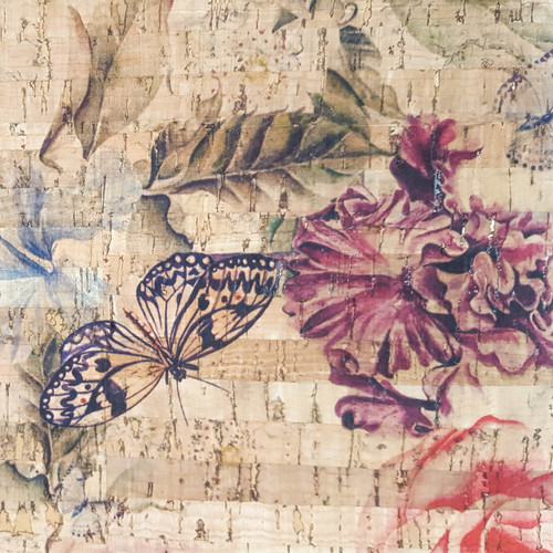 Butterfly Garden printed Cork Fabric, suitable for accessories sewing, from Purple Stitches UK