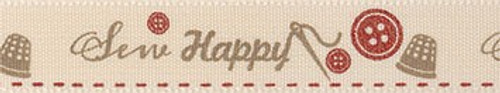 'Sew Happy' Ribbon - Red