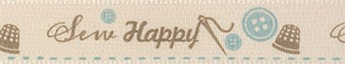 'Sew Happy' Ribbon - Blue