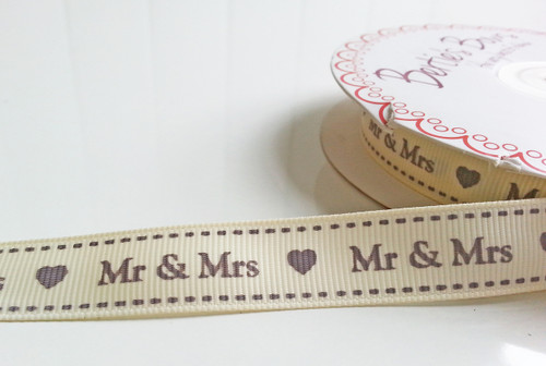 'Mr and Mrs' Ribbon - Grey