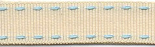 Cream & Blue Stitched Grosgrain Ribbon
