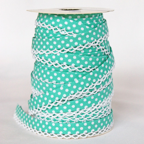 Turquoise Lace Edge Bias Binding 12mm
