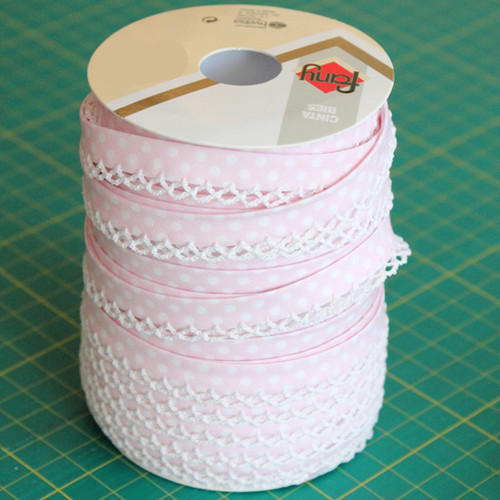 Pale Pink Lace Edge Bias Binding 12mm