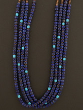 Multi Strand Lapis Necklace Native American Made by Marcella Teller