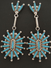 Zuni Handmade Turquoise Needlepoint Earrings Sterling Silver