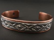 Navajo Handmade Copper Bracelet Sterling Silver