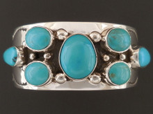 Kingman Turquoise Cluster Bracelet Native American Handmade by Sam Gray