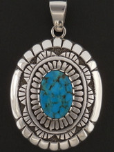 Blue Diamond Turquoise Pendant Native American Handmade by Sam Gray
