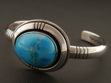 Native American Handmade Persian Turquoise Bracelet by Leroy Begay