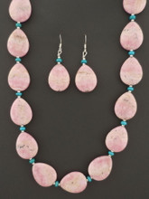 Genuine Rhodochrosite Necklace and Earring Set Native American Made by Marcella Teller