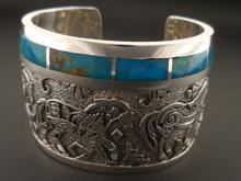 Sterling Silver Medicine Horse Bracelet Native American Handmade Blue Gem Turquoise
