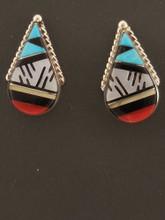 Native American Handmade Zuni Inlay Earrings Sterling Silver