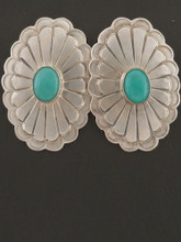 Native American Turquoise and Sterling Silver Concho Earrings by R. Livingston