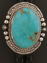 Native American Kingman Turquoise Bolo Tie Sterling Silver