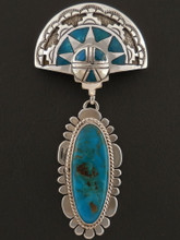 Authentic Blue Gem Turquoise Shalako Pendant Native American Handmade by Sam Gray