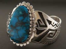 Custom Native American Handmade Blue Diamond Turquoise Bracelet by Sam Gray