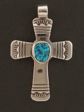 Genuine Turquoise Cross by Renowned Navajo Silversmith Sam Gray
