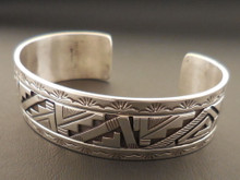 Authentic Navajo Handmade Sterling Silver Cuff Bracelet