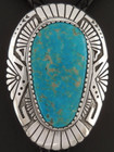 Kingman Turquoise Bolo Tie Custom Native American Handmade by Sam Gray