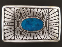 Custom Native American Handmade Turquoise Belt Buckle by Sam Gray