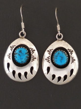 Native American Turquoise Bear Paw Dangle Earrings
