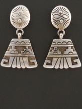 Native American Handmade Sterling Silver Dangle Earrings by Sam Gray