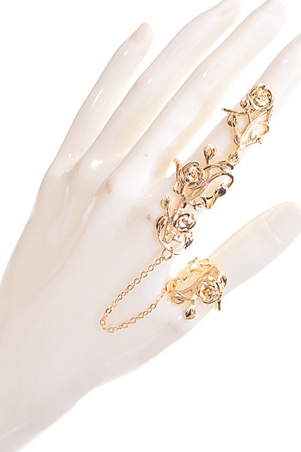Flower And Leaf Shape Chain Ring