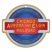 Chicago, Aurora and Elgin Railroad Wooden Plaque