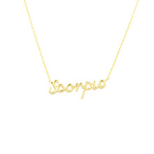 Scorpio Zodiac Script Necklace