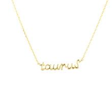 Taurus Zodiac Script Necklace
