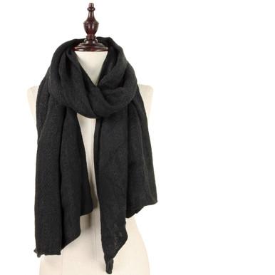 Solid Soft Knit Scarf Black