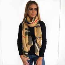 Burberry Plaid Oblong Scarf Camel