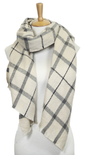Check Plaid Oblong Scarf Ivory