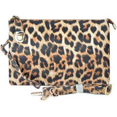 buckle clutch leopard