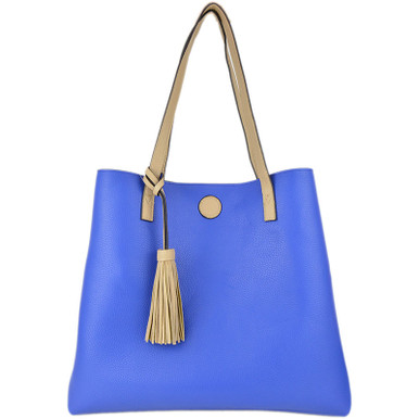 Jet Set Reversible Tote Taupe Blue