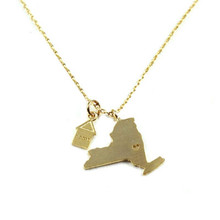 New York State Home Necklace Gold