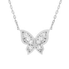 Crystal Butterfly Necklace Silver