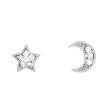 Tiny Crystal Moon and Star Stud Earring Silver