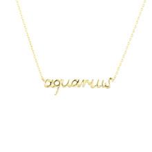 Aquarius Zodiac Script Necklace