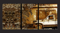B and M Garage Sepia Triptych