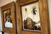 Pair of Heavy Carved Teak Framed sepia photographs SOLD
