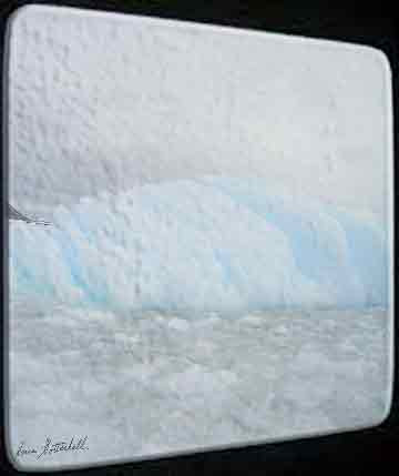 Rectangular glass cutting/serving board displays an image of an iceberg.  Put your images here today!