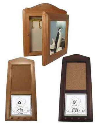Upper image:  keybox with custom photo tile.  Lower images:  cork memo board/key holder with custom photo tile