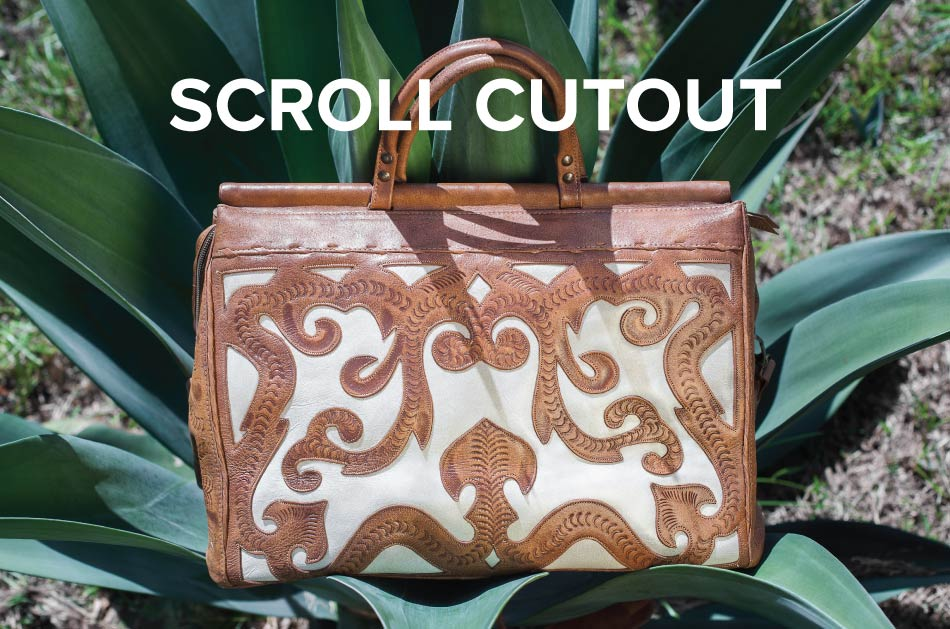 Scroll Cut-Out Leather Bags