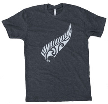New Zealand Maori Fern T-shirt- Charcoal/White