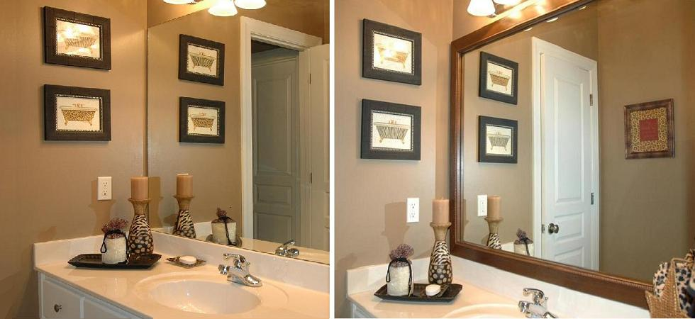 Framing A Bathroom Mirror Before And After mirror frame kits | diy | quick mirror projects