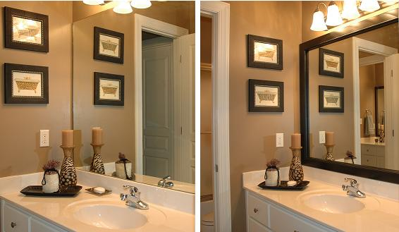 Framing A Bathroom Mirror Before And After bathroom update - low budget - mirrorframe