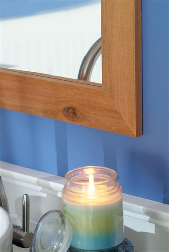 The Lodge rustic mirror frame with  either a rough-sawn or smooth finish
