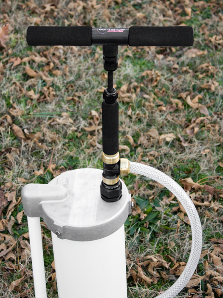 "Detailed view of EarthStraw System mounted with optional 6"" Well Cap with Gripper. Well Cap is also available for 4"" casings."