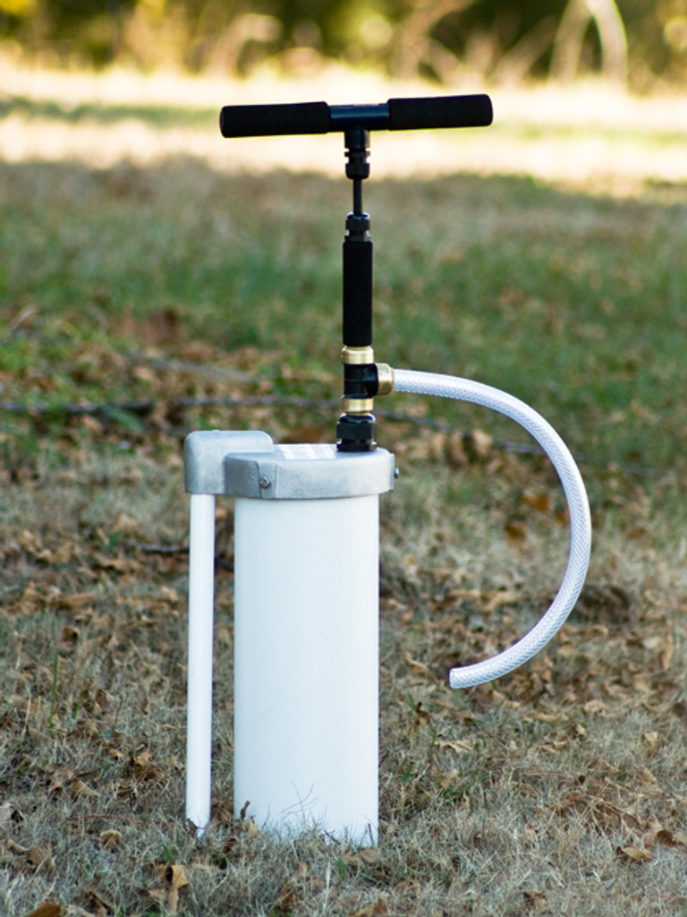 "EarthStraw System mounted with optional 6"" Well Cap with Gripper. Well Cap is also available for 4"" casings."